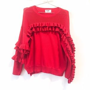 LF | Seek the Label red ruffle sleeve sweater sz M